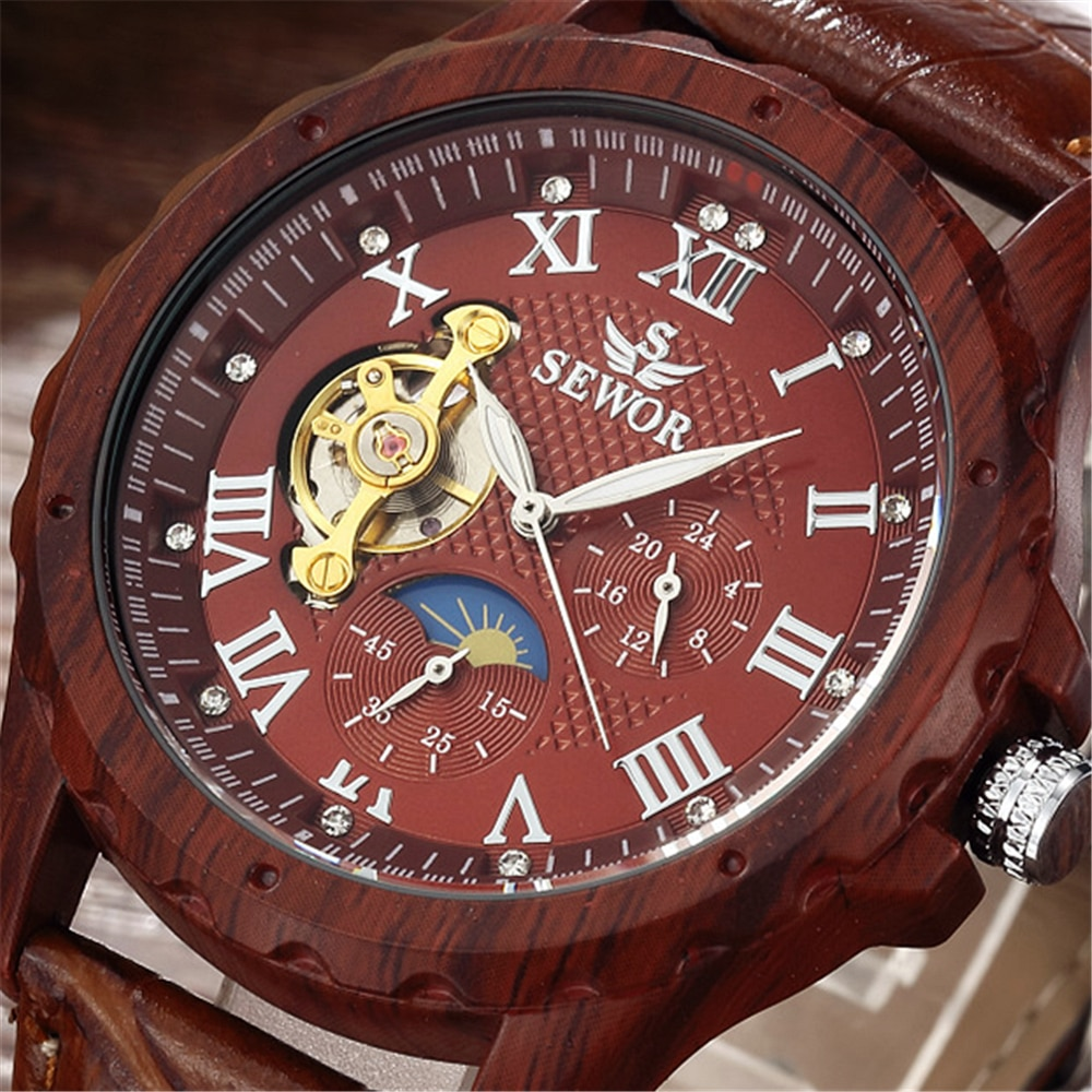 Fashion Wood Watches Men Mechanical Watches Sewor Automatic Mechanical Watches Men Watches Moon Phas
