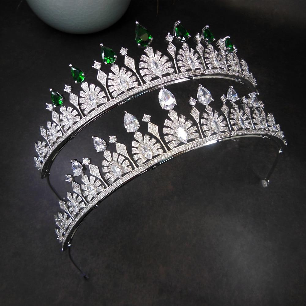 Corona de Zirconia para Novia, Tiara nupcial, Diadema, joyería de boda, Diadema,...