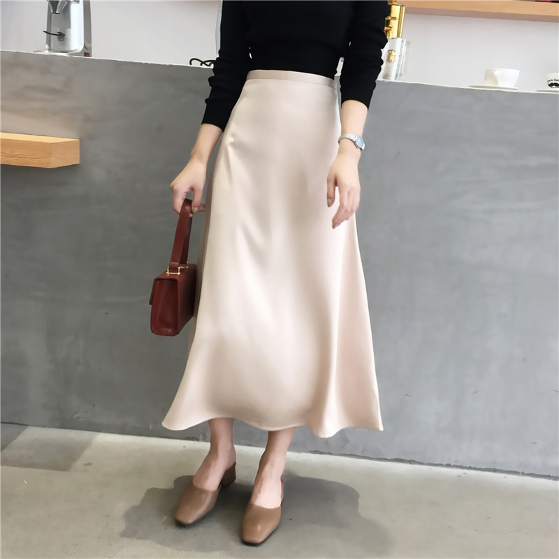 Women Elegant Office Lady Quality Glossy Satin Skirt Plain Shiny  Fashion Solid High Waist Skirts