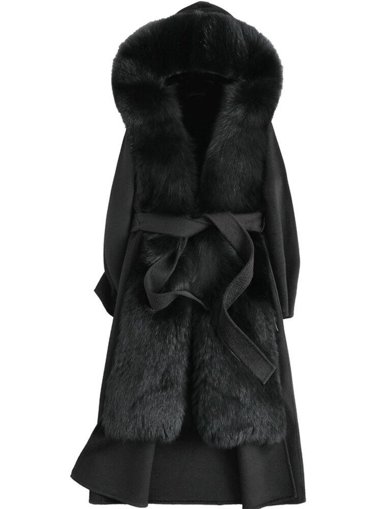 معطف نسائي طويل من فرو الثعلب بأكمام طويلة ، جاكيت ببطانة أرنب ريكس ، على الوجهين ، عصري