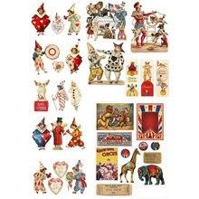 2 teile/los Vintage Circus Clown Deco DIY Planer Aufkleber Album Mohamm Journal Aufkleber Nette Schreibwaren School Stuff