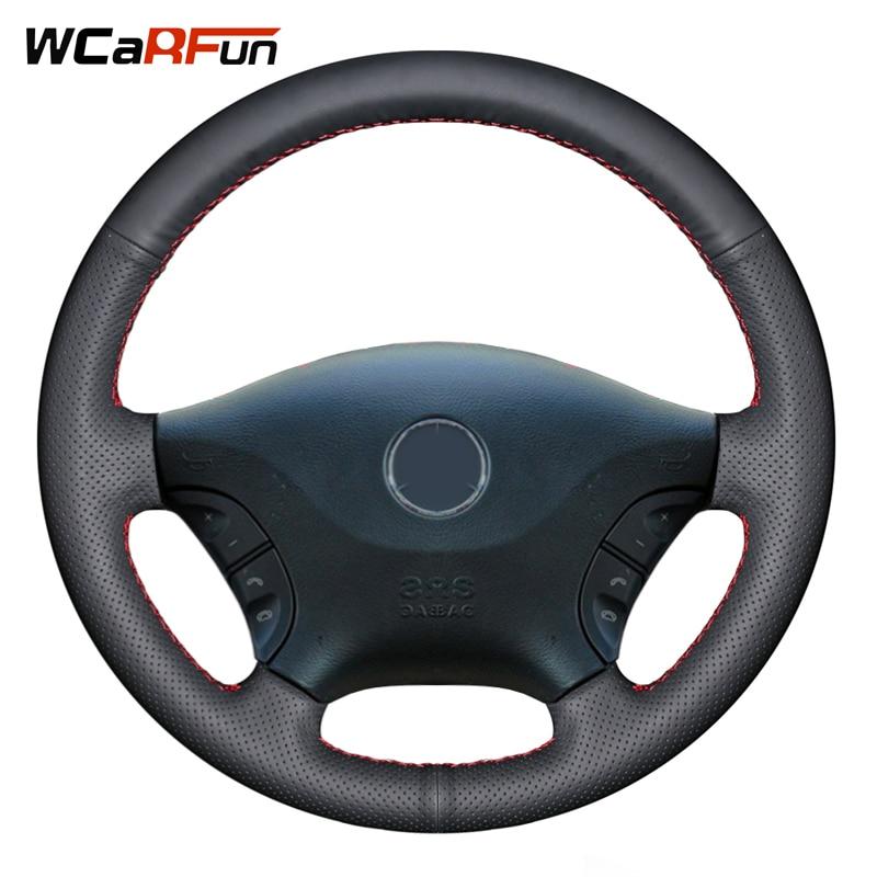 WCaRFun Black Genuine Leather Steering Wheel Cover for Mercedes Benz Viano w639 2006-2011 2011 Vito 2010-2015