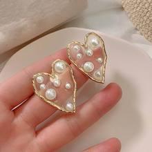 Transparent personnalité perle pavé coeur grandes boucles doreilles pour les femmes 2020 nouveau bijoux déclaration boucles doreilles Style de la rue