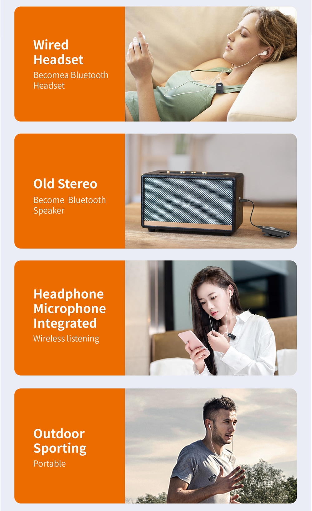 Portable Bluetooth Receiver 5.0 Wireless Audio Adapter Receptor 3.5mm AUX Jack for Speaker Headphones enlarge