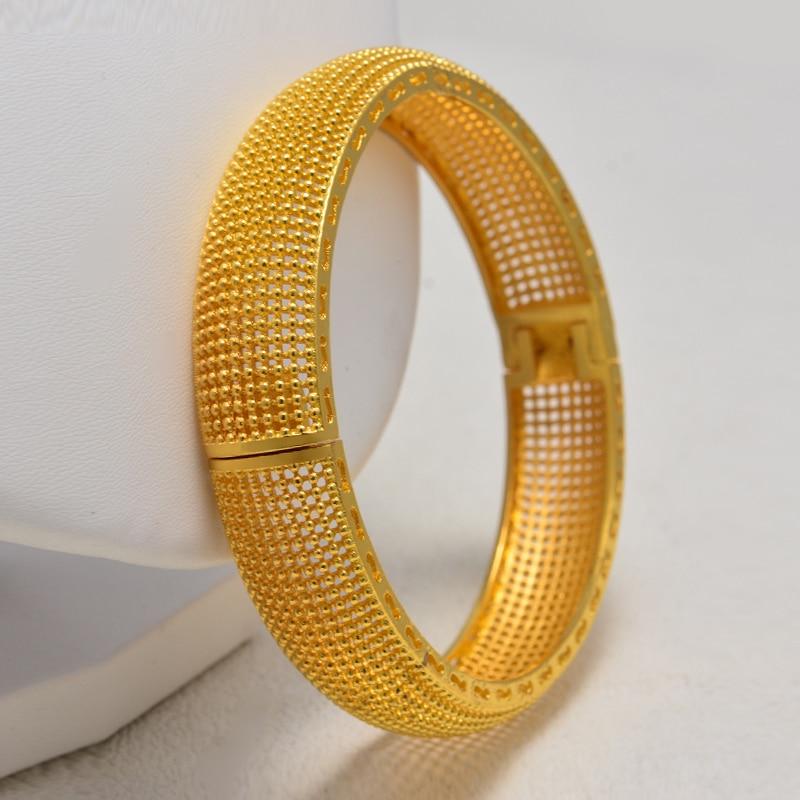 Brazaletes para boda de Color dorado de nueva moda Annayoyo para mujer la novia puede abrir pulseras etíope/Francia/Africano/Dubai joyería regalos