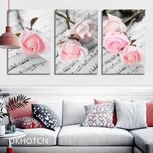 Fabrication à la main rose feuille de musique Image toile peinture esthétique Art moderne mur photos pour salon affiche de mode