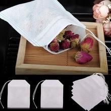 Sachets de thé 100 pièces 5x7CM vide sachet de thé avec ficelle guérir joint filtre infuseur souche pour café en vrac thé jetables sacs en papier