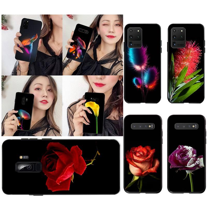 Nuevo diseño de Arte Moderno flor Rosa funda negra suave carcasa de teléfono para Samsung S20 plus Ultra S7 S6 edge S8 S9 plus S10 5G