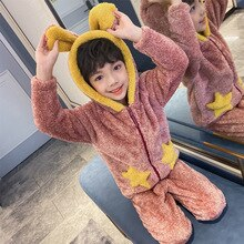 Boys Pajamas Winter Children Warm Flannel Sleepwear Girls Kids Pijamas Homewear Boys Pyjama Home Service Winter Suit 8 10 14 Yrs