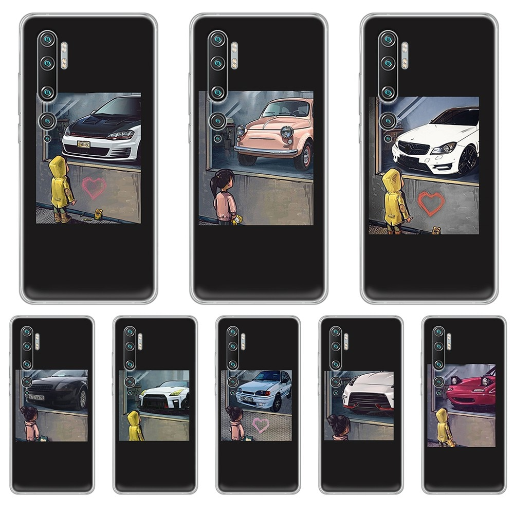 JDM auto 3D suave funda transparente funda de teléfono para XIAOMI mi 3 4 5 5X 8 9 10 se max pro a2 9T note lite