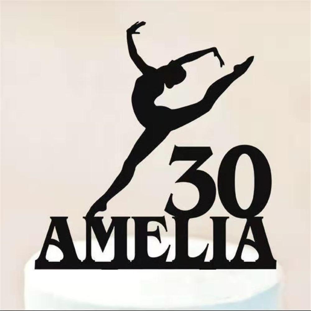 Personalizado bailarina torta de cumpleaños personalizado nombre de la edad bailarina de Ballet torta de cumpleaños gimnasta/torta de gimnasia