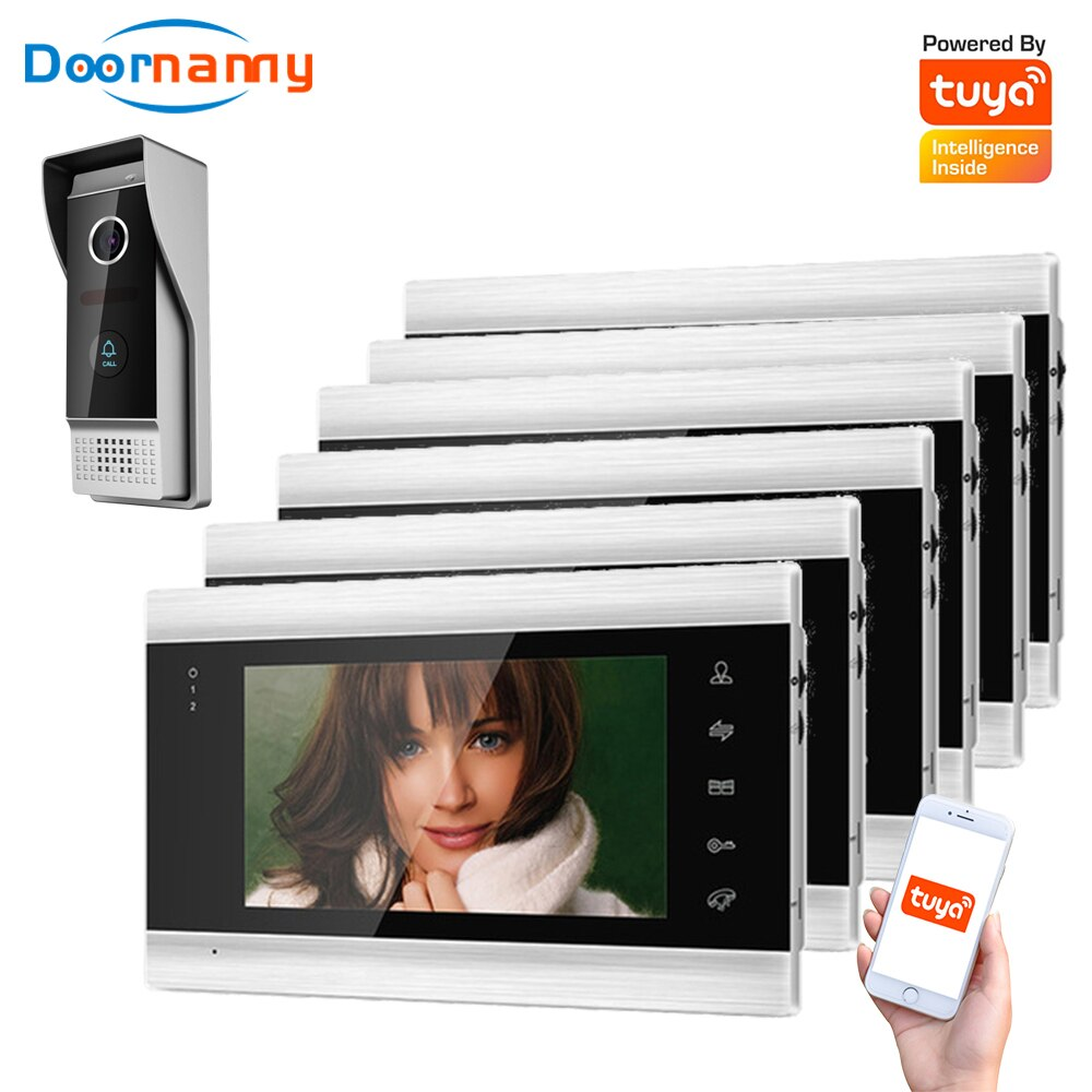 Doornanny Villa Apartment WiFi Video Intercom System One To 6Monitors Tuya Doorbell Doorphone Video Call Intercom Kit AHD 720P