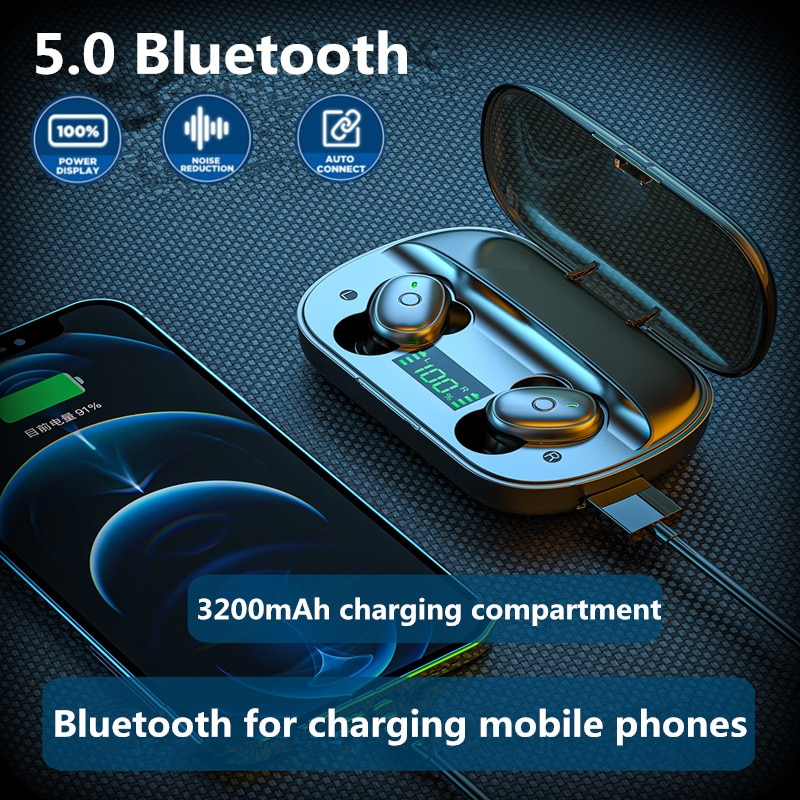 5.0 Tws Bluetooth Wireless Headphones Noise Canceling Headset  Gaming Hifi In Ear With Microphone Ea