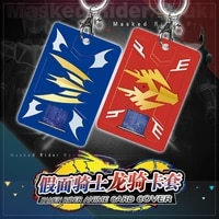 anime keychains masked rider 01 zi o student pu id bus bank card holder key chain card case pendant toy keyring creative