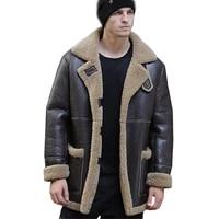thicken warm sani natural sheepskin fur shearling men leather genuine real fur coat winter warm brown fur fashion clothing
