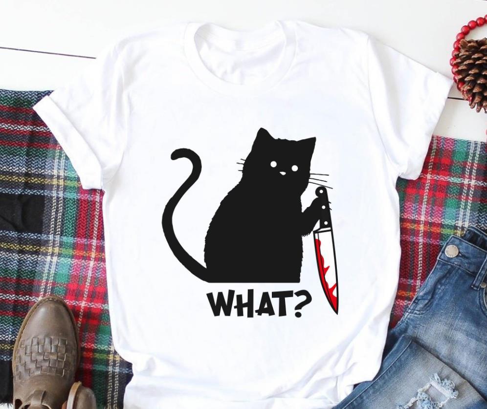 Black Cat What Halloween Print Women tshirt Cotton Funny t shirt Gift For Lady Yong Girl Street Top Tee A-1062