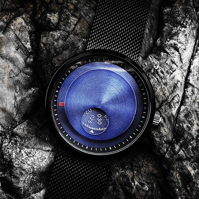 Reloj de pulsera creativo Enmex de 5ATM de acero inoxidable resistente al agua con fuerzas especiales de color azul, relojes de cuarzo para jóvenes