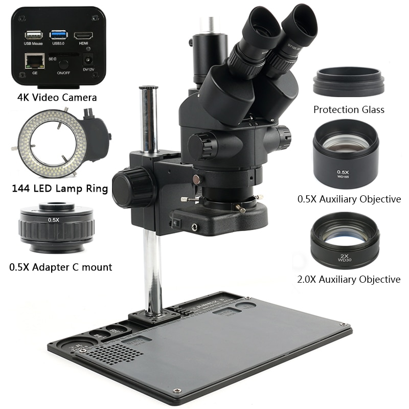 Simul-focal microscópio trinocular microscópio estéreo 3.5x-90x + imx334 4 k hdmi wifi usb 3.0 industrial c montagem câmera de vídeo