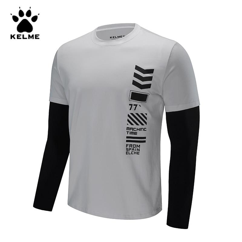 KELME Mens Fake Two T-shirt Men Spring Fashion Patchwork Hip Hop Casual Tshirt Male O-Neck Long Sleeves T Shirt Men 3681019