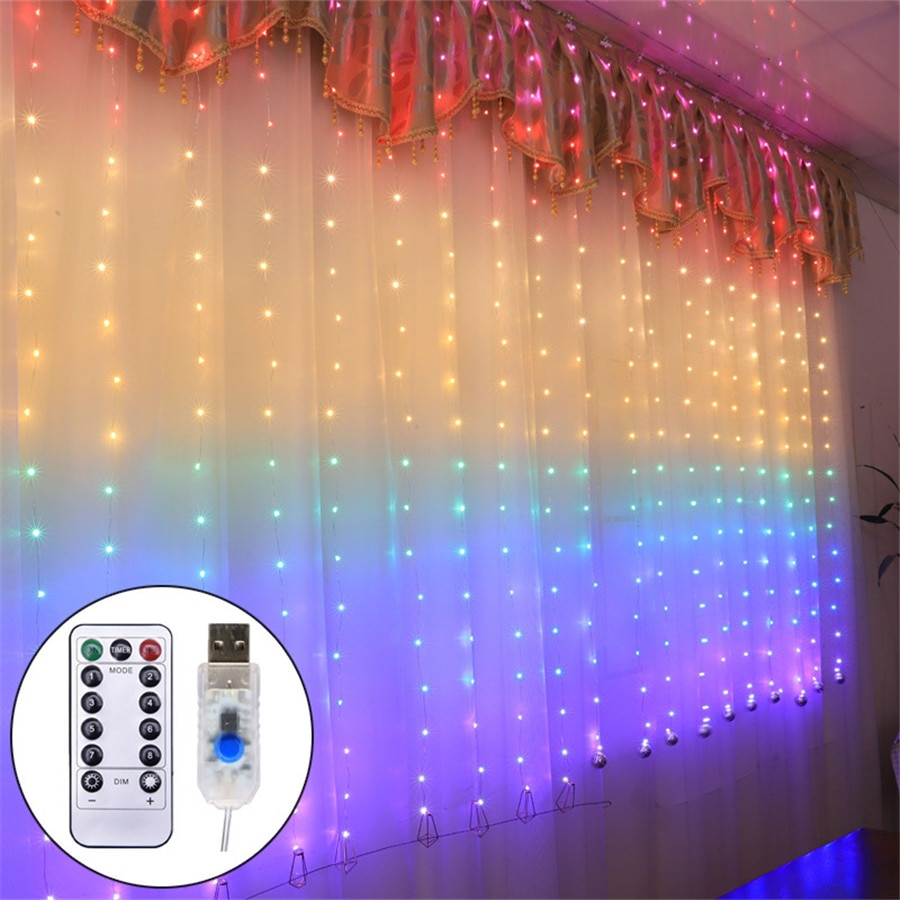 USB Rainbow 280 Leds Christmas String Light & Remote Controller Copper Wire Waterproof Window Hanging Fairy Decoration Party zdm 10m usb copper wire waterproof led string light 100 leds for festival christmas party decoration dc5v