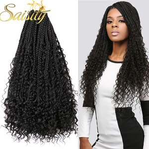 Saisity with Split Ends Goddess Box Braids Crochet Hair Synthetic Extensions Ombre With End Bohemian Box Braiding Hair