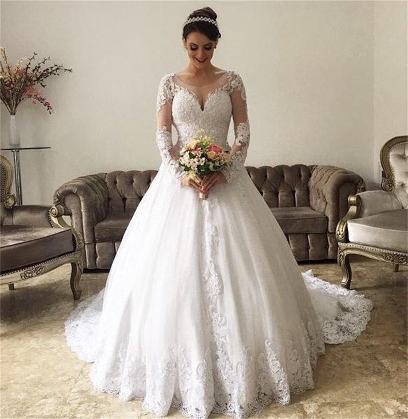 2020 nuevos vestidos de novia simples de tul profundo cuello pico espalda...