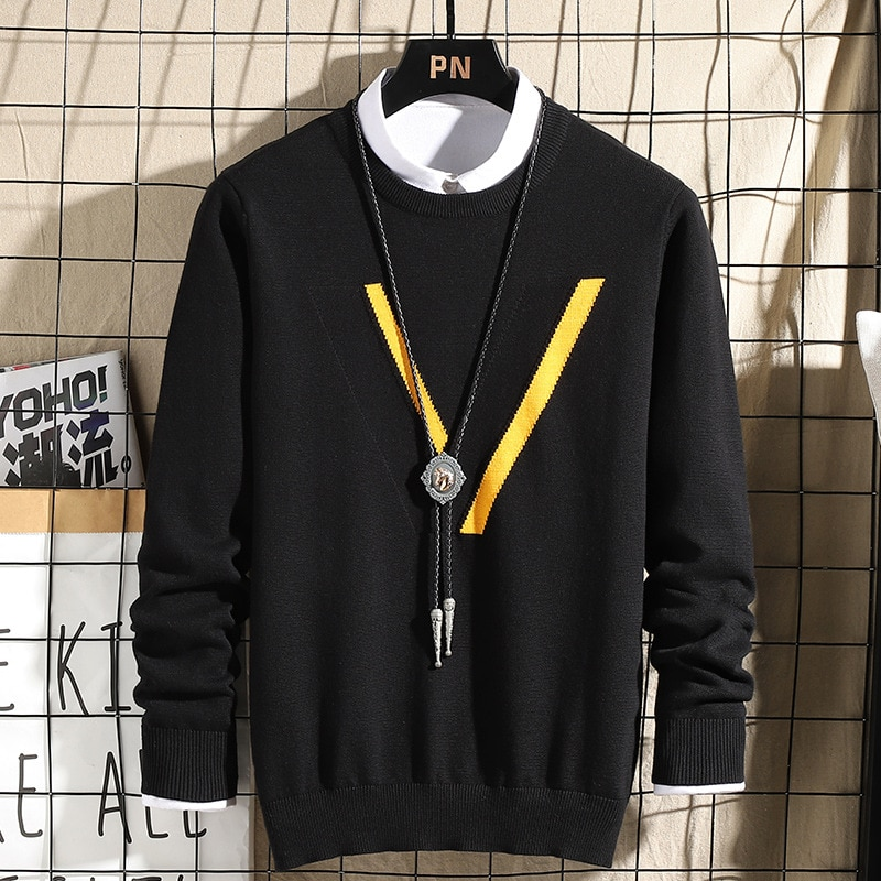 MOVOKAKA Sweater Men 2020 Casual Plus Size Pullover Men Slim Fit Long Sleeve Autumn Winter Sweater Knitted Cotton Pull Homme Top