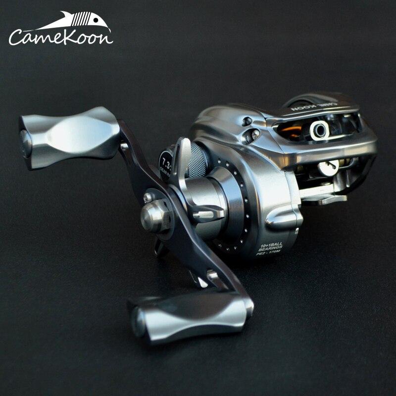 CAMEKOON Full Matel Baitcasting carrete de pesca 10 + 1 rodamientos de bolas 7,3 1 Relación de engranaje bobina de pesca de fundición Ultra suave