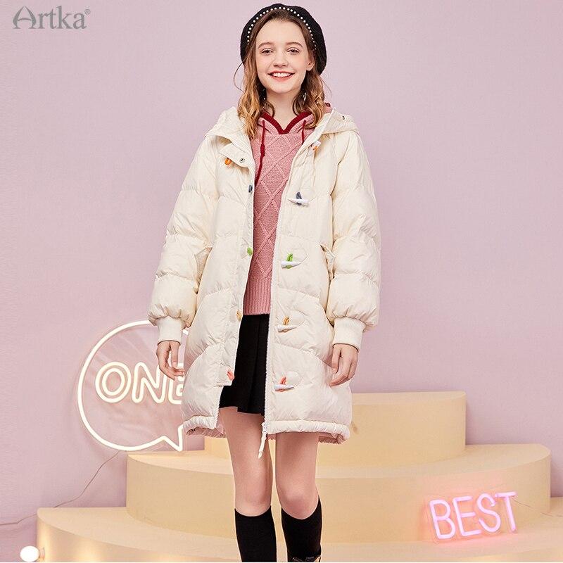 ARTKA-جاكيت شتوي نسائي ، مجموعة جديدة 2020 ، حروف مطرزة ، 90% معطف أبيض بغطاء للرأس ، فضفاض ، ZK25101D