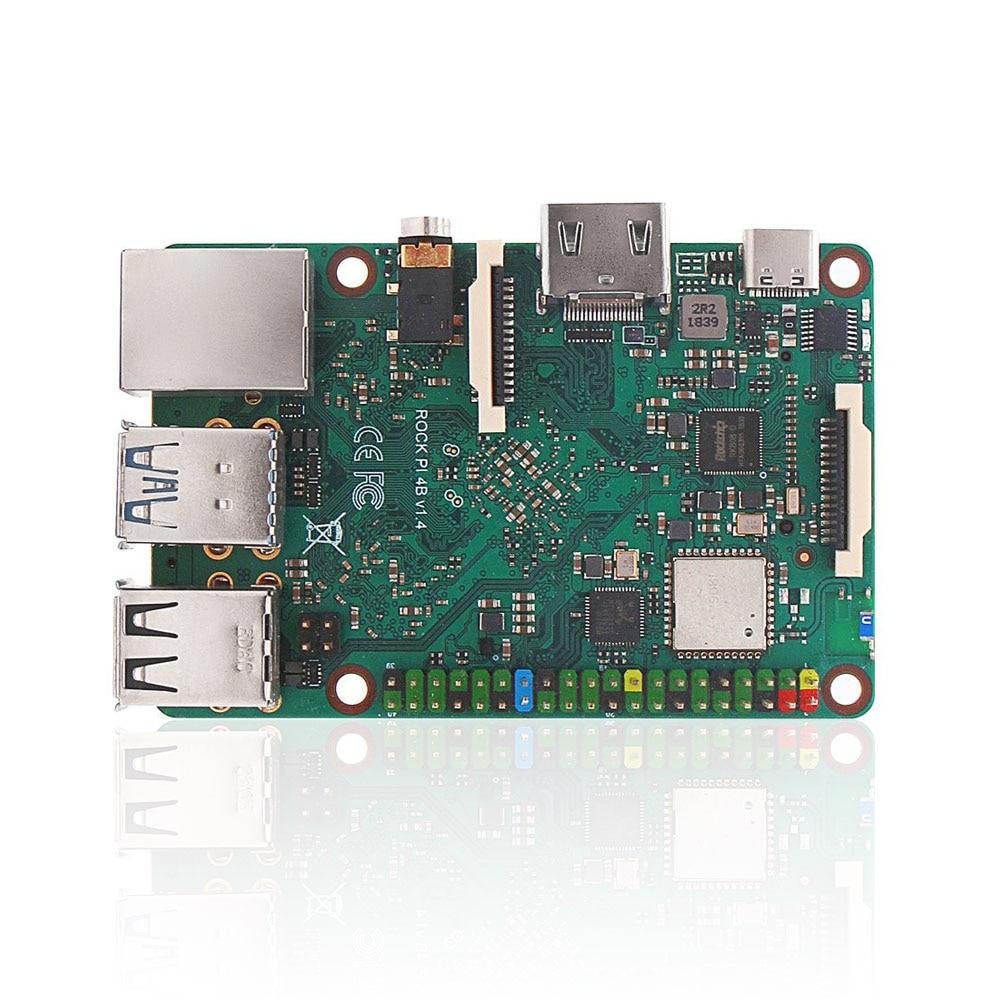 ROCK PI 4B V1.4 Rockchip RK3399 ARM Cortex Six Core SBC/Single Board Computer Compatible with Official Raspberry Pi Display