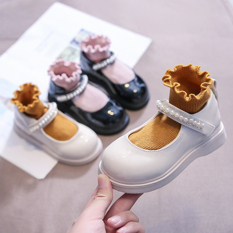 2021 Autumn New Girls Leather Shoes with Pearl Single Shoes Student British Style Princess Shoes Children Shoes 21-34 Kids Shoes girls leather shoes children girls baby princess bowknot sneakers pearl diamond single shoes kids dance shoes newest autumn