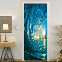 2 pcsset gate stickers diy mural bedroom home decor poster pvc 3d surf waterproof imitation 3d door sticker wallpaper decal