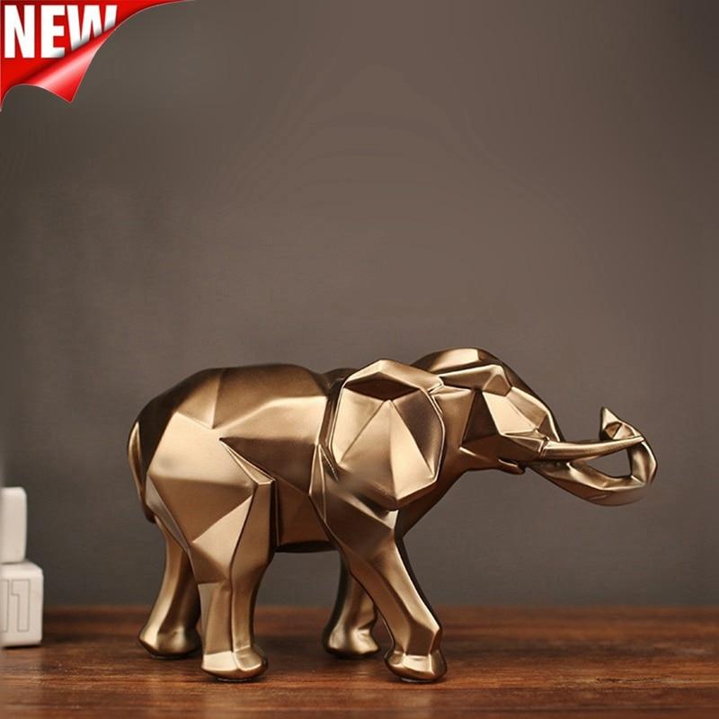 Presentes para Elefante Abstrato Moderno Elefante Dourado Estátua Resina Ornamento Casa Decoração Acessórios Escultura Animal Artesanato 2021