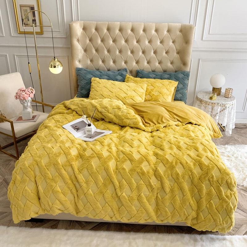 Funda de edredón de terciopelo para bebé de estilo lujoso, Sábana ajustable para cama, fundas de almohada sólidas en amarillo, verde, blanco, marrón, rosa