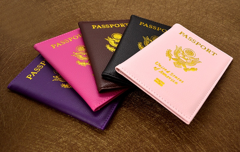 Personalised leather USA Passport Cover Customized Travel Passport holder American Wallet Covers for Passports Girls America