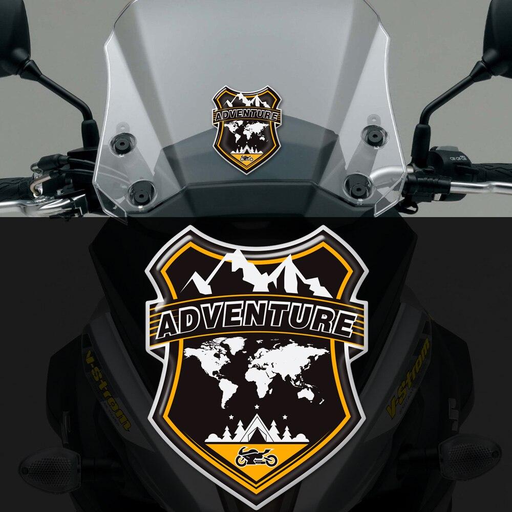 Gepäck Aluminium Fall ADV Abenteuer Aufkleber Windschutzscheibe Windschutz Für BMW Honda Yamaha Moto Guzzi Benelli Suzuki Motorrad