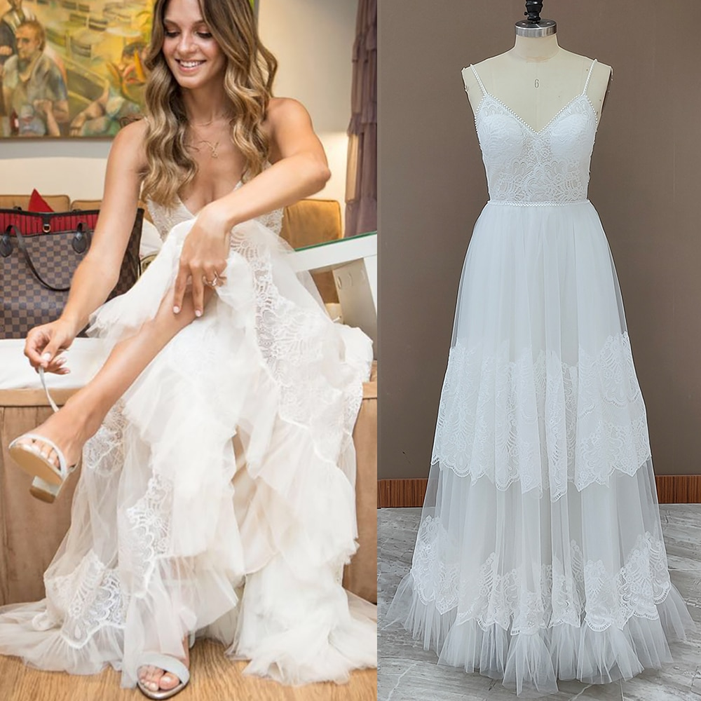 Get Beach Lace Tulle A Line Wedding Dress Spaghett Straps Backless Buttons Boho Maxi V-Neck Bridal Gowns Custom Made Plus Size 10148