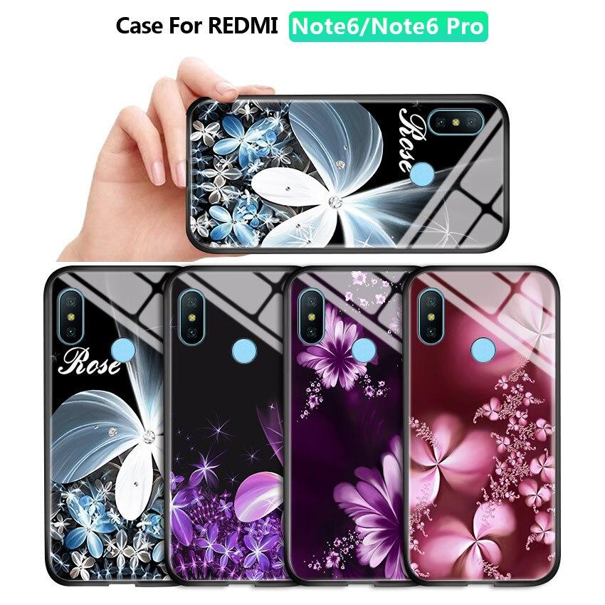 Para Xiaomi Redmi Note 6 7 8 Pro 8T 9S moda mujeres niñas Lila flor impresa funda dura a prueba de golpes de vidrio templado cubierta del teléfono