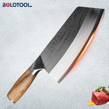 Bıçak mutfak şam lazer desen et Cleaver çin şef doğrama dilimleme bıçağı 40CR13 paslanmaz çelik sebze kesici
