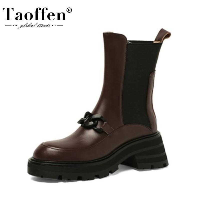 Taoffen 2022 جلد طبيعي حذاء من الجلد أحذية النساء سلاسل معدنية حذاء بكعب سميك مختلط اللون موضة الإناث الأحذية حجم 34-39