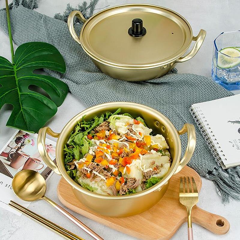 Korean Pot Cooking Noodle Pot Korean Ramen Noodles Golden Pot Aluminum Soup Pot With Lid Noodles Milk Soup Pot Fast Kitchen