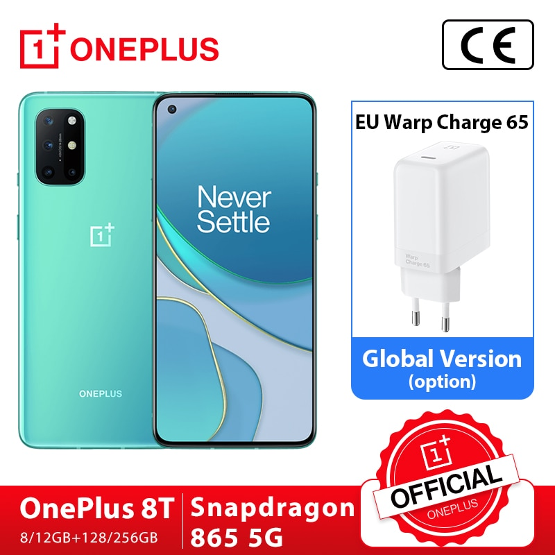 Global Rom OnePlus 8T 8 T OnePlus Official Store 8GB 128GB Snapdragon 865 5G Smartphone 120Hz AMOLED Fluid Screen 48MP Quad 65W