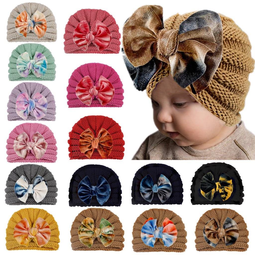 Новая зимняя детская шапка для девочек, вязаная детская шапочка, женская шапка-тюрбан, аксессуары для новорожденных, детская шапка для малы...
