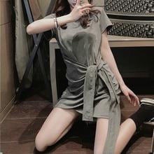 Elegant Slimming Mid-Length T-shirt Skirt Women's Niche Design Lace-up Scheming Irregular Fashion Dr