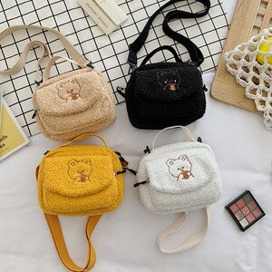 Women Mini Plush Shoulder Bag Female Small Canvas Cross Body Bags Ladies Embroidery Zipper Cloth Purse Mobile Phone Bag Tote