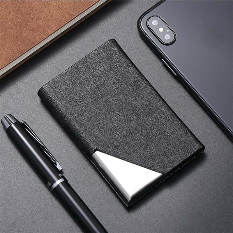 Tarjetero de aluminio y Metal para hombre y mujer, billetera de cuero PU para tarjetas de identificación y de negocios, a la moda