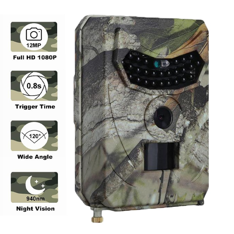 mini trail game camera night vision 1080p 12mp waterproof hunting camera outdoor wild photo traps with ir leds range up to 65ft Night Vision 1080P 12MP Trail Camera Outdoor Wildlife Hunting Invisible Infrared Wild Scouting Camera Photo Video Traps Track