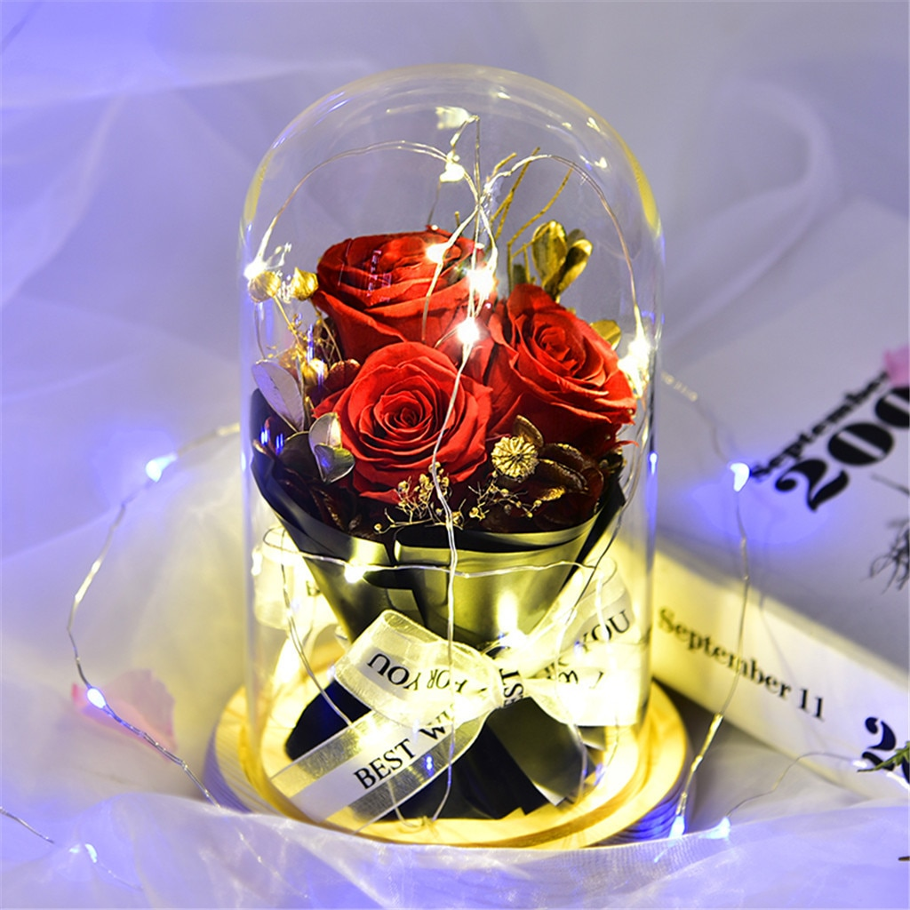 Decoração de Casa Decoração de Casamento Presentes do Dia dos Namorados Dia dos Namorados Mento Criativo Rosa Flor Luz Vidro Romântico Decoração Led