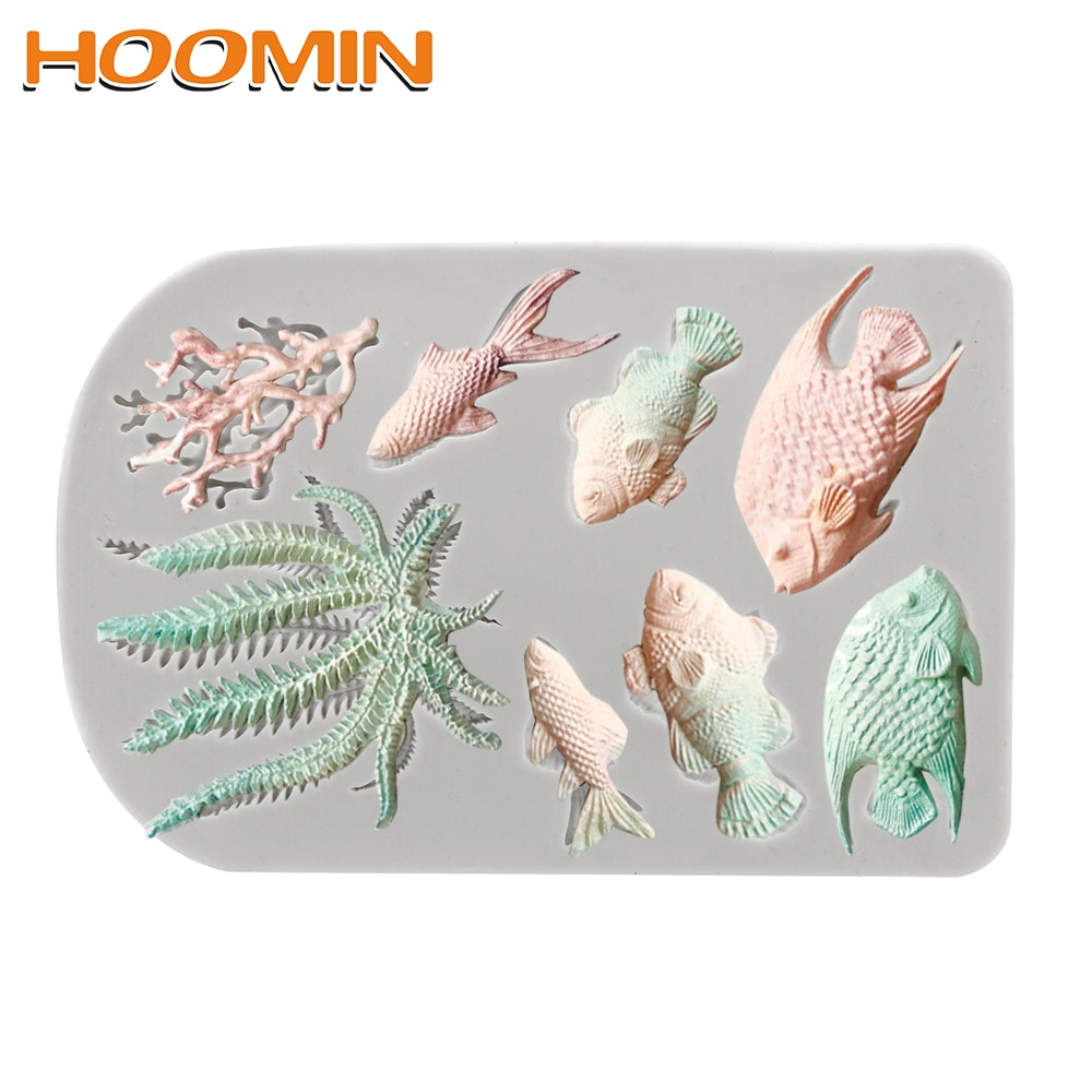 HOOMIN DIY Sea Coral Cupcake Chocolate Moulds Ocean Series Fish Seaweed Mould  Cake Border Fondant Cake Decorating Tools
