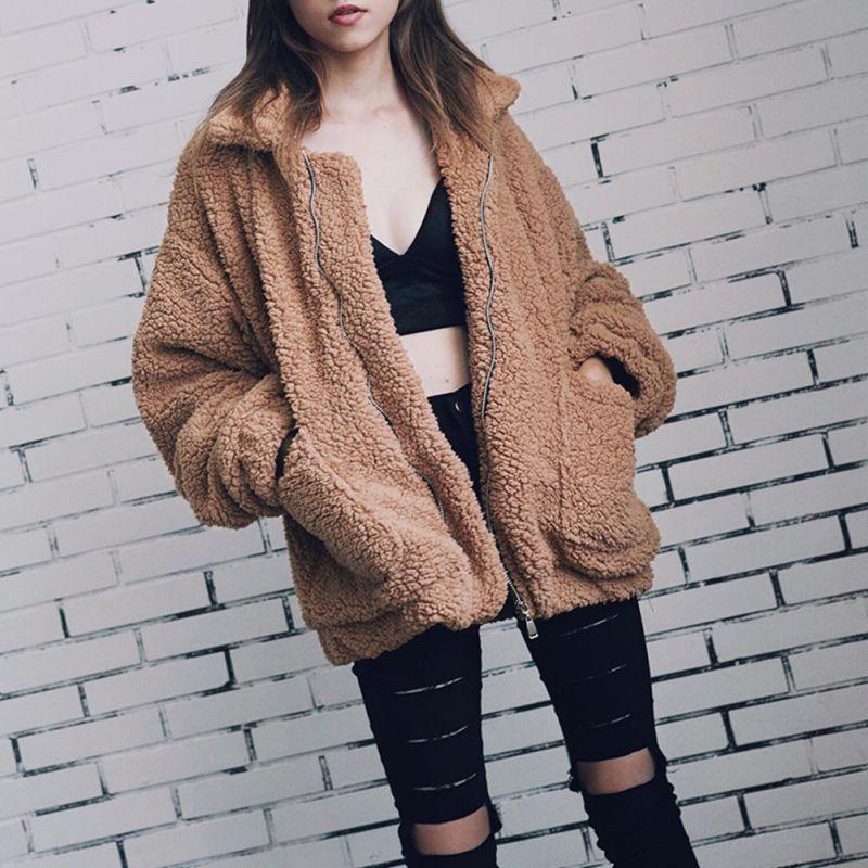 Elegant Faux Fur Coat Women Autumn Winter Warm Soft Zipper  Jacket Female Plush Overcoat Pocket Casual Teddy Outwear недорого